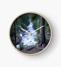 White River Through an Evergreen Forest Clock