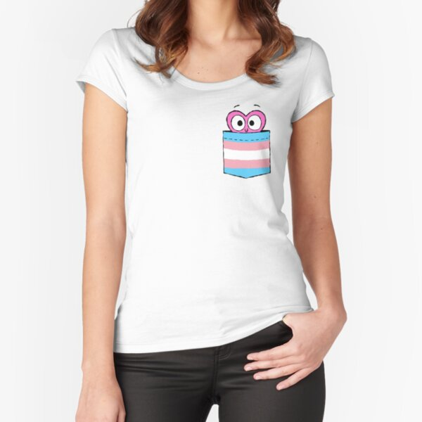 In a Heartbeat - Trans Flag Pocket Fitted Scoop T-Shirt