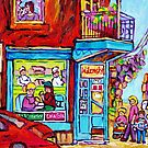 MONTREAL ART STREET SCENE PAINTING OF CANADIAN ART C SPANDAU DINNER FOR TWO QUEBEC ART by Carole  Spandau