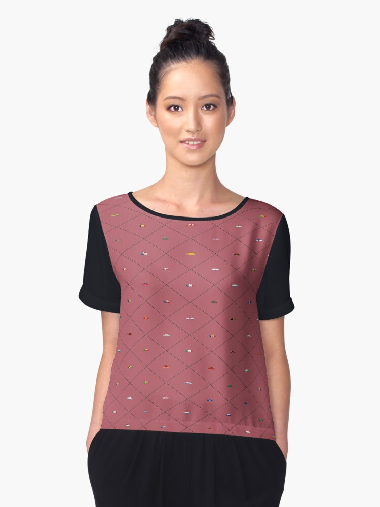 Mustache Flags - Wine Women's Chiffon Top Front