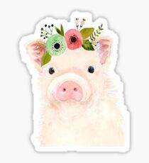 pig with flower crown Sticker