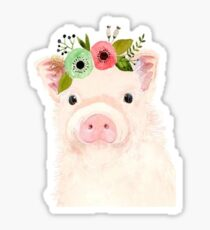 pig with flower crown Sticker