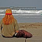 Ocean Beach red head and surfer by milton ginos