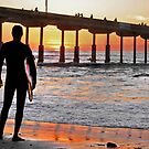 Ocean Beach California-- Sunset Surfer by milton ginos