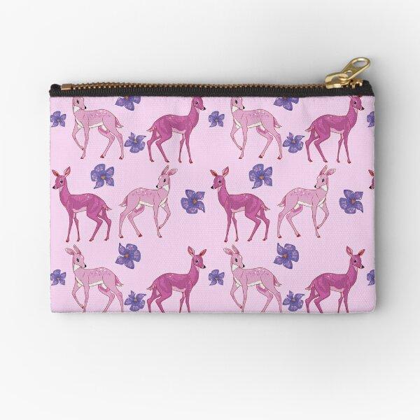 Pink Deer Pattern Zipper Pouch