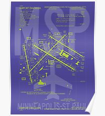 MSP Minneapolis-St. Paul Airport Diagram | Aviation Art Gift for Airport Buff, Frequent Flyer, Travel Fanatic Poster