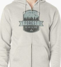 Funny camping | May The Forest Be With You  Zipped Hoodie