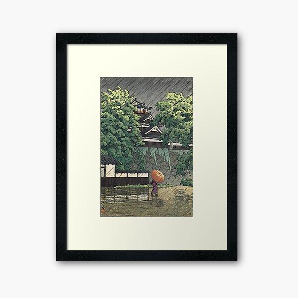 Udo Tower, Kumamoto Castle in Rain - Kawase Hasui Framed Art Print