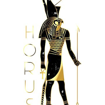 Horus - Ancient Egyptian God in gold and black weathered design by polygrafix