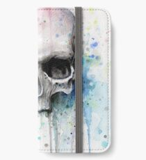 Watercolor Skull Rainbow Colorful Painting iPhone Wallet/Case/Skin