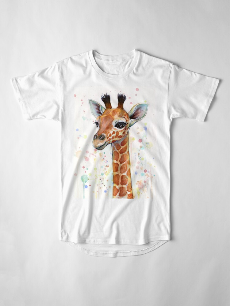 Alternate view of Baby Giraffe Watercolor Painting, Nursery Art Long T-Shirt