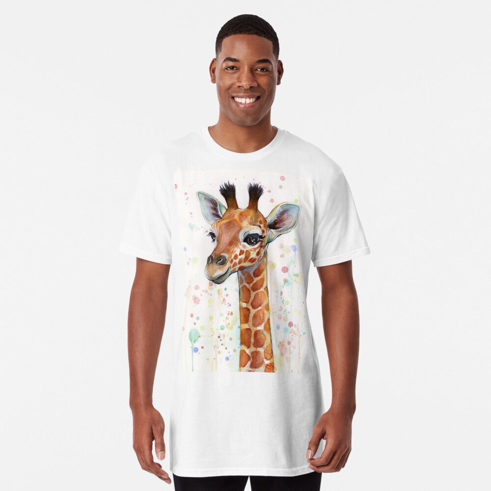 Baby Giraffe Watercolor Painting, Nursery Art Long T-Shirt