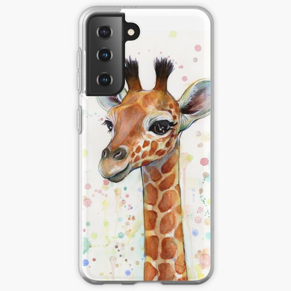 Baby Giraffe Watercolor Painting, Nursery Art Samsung Galaxy Soft Case