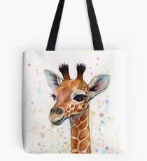 Baby Giraffe Watercolor Painting, Nursery Art Tote Bag