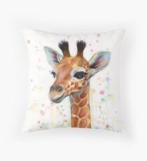 Baby Giraffe Watercolor Painting, Nursery Art Throw Pillow