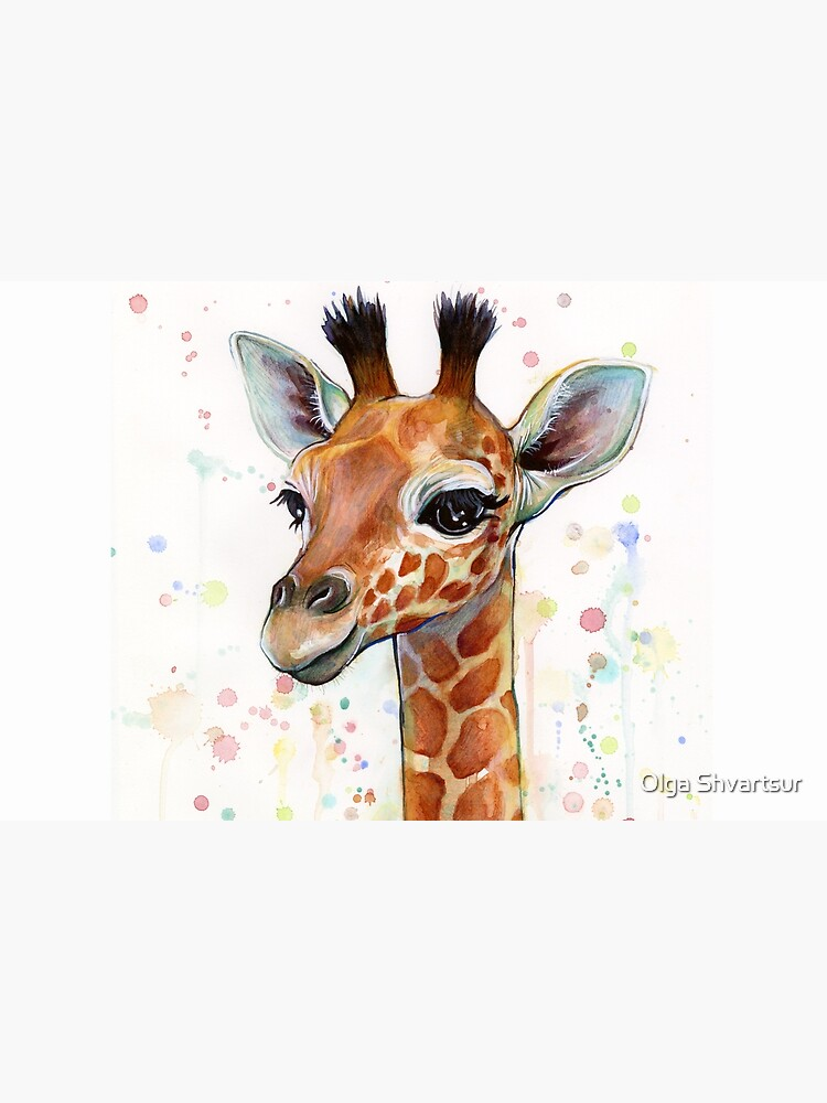 Baby Giraffe Watercolor Painting, Nursery Art by olga-shvartsur