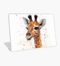 Baby-Giraffe-Aquarell-Malerei, Kinderzimmer-Kunst Laptop Folie