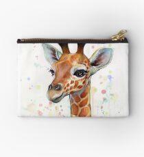 Baby Giraffe Watercolor Painting, Nursery Art Studio Pouch