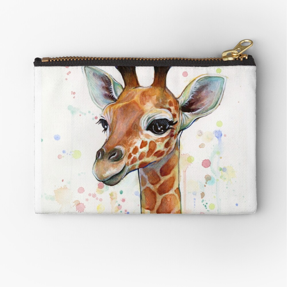 Baby Giraffe Watercolor Painting, Nursery Art Zipper Pouch