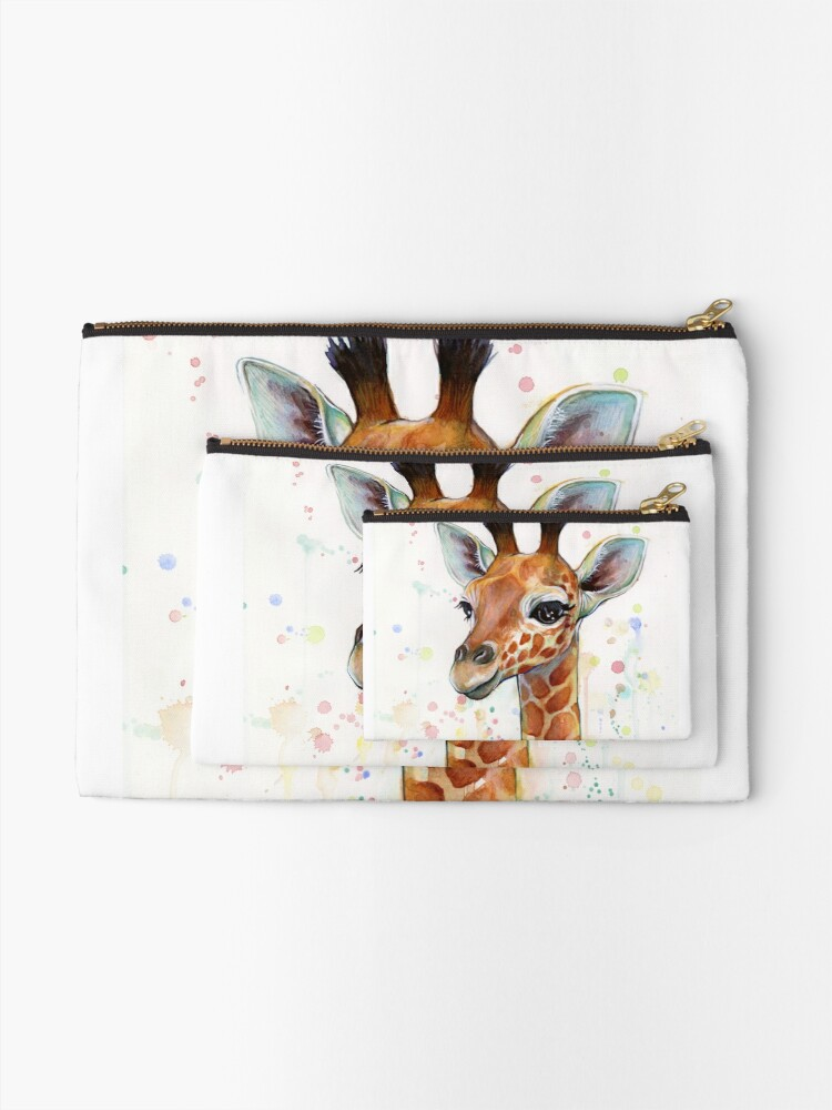 Alternate view of Baby Giraffe Watercolor Painting, Nursery Art Zipper Pouch
