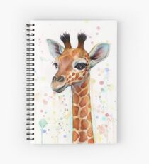Baby Giraffe Watercolor Painting, Nursery Art Spiral Notebook