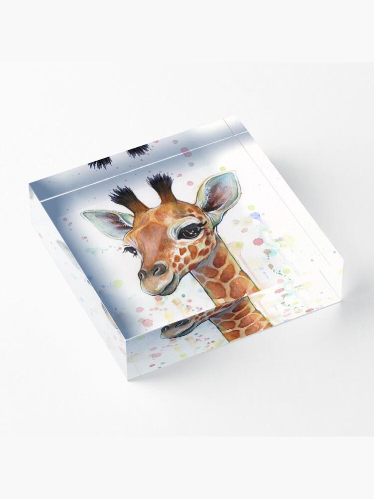 Alternate view of Baby Giraffe Watercolor Painting, Nursery Art Acrylic Block