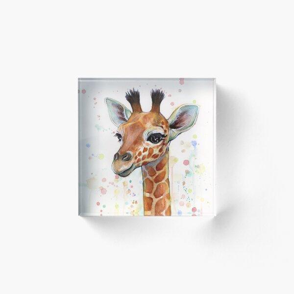 Baby Giraffe Watercolor Painting, Nursery Art Acrylic Block