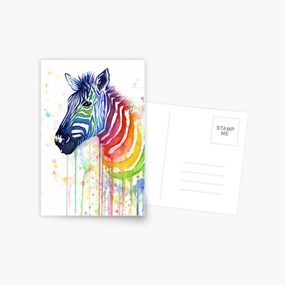 Rainbow Zebra Painting Greeting Card With Envelope Inside Premium Quality