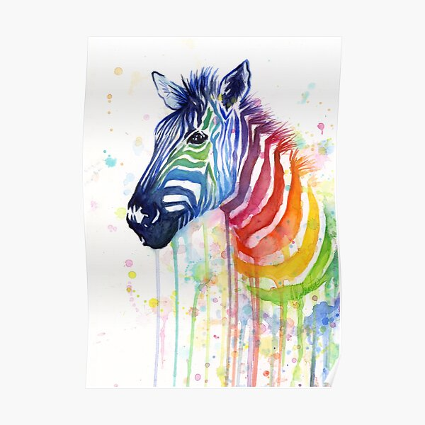 Rainbow Zebra Watercolor Animal Painting Poster