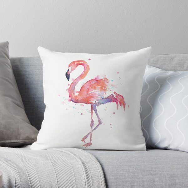 Pink Flamingo Watercolor Illustration Throw Pillow