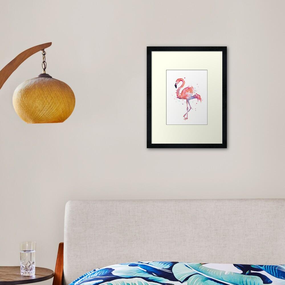 Pink Flamingo Watercolor Illustration Framed Art Print