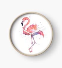 Pink Flamingo Watercolor Illustration Clock