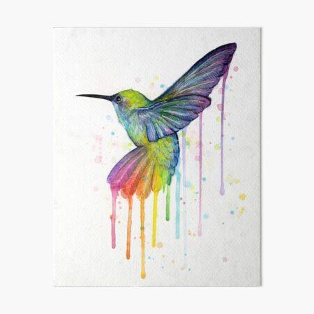 Hummingbird Watercolor Rainbow Art Board Print