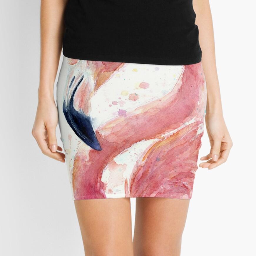Flamingo Watercolor  Mini Skirt