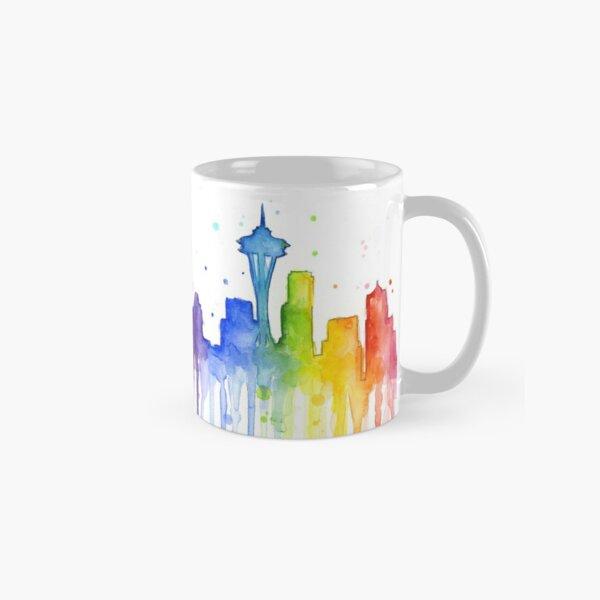 Seattle Rainbow Watercolor Silhouette Classic Mug