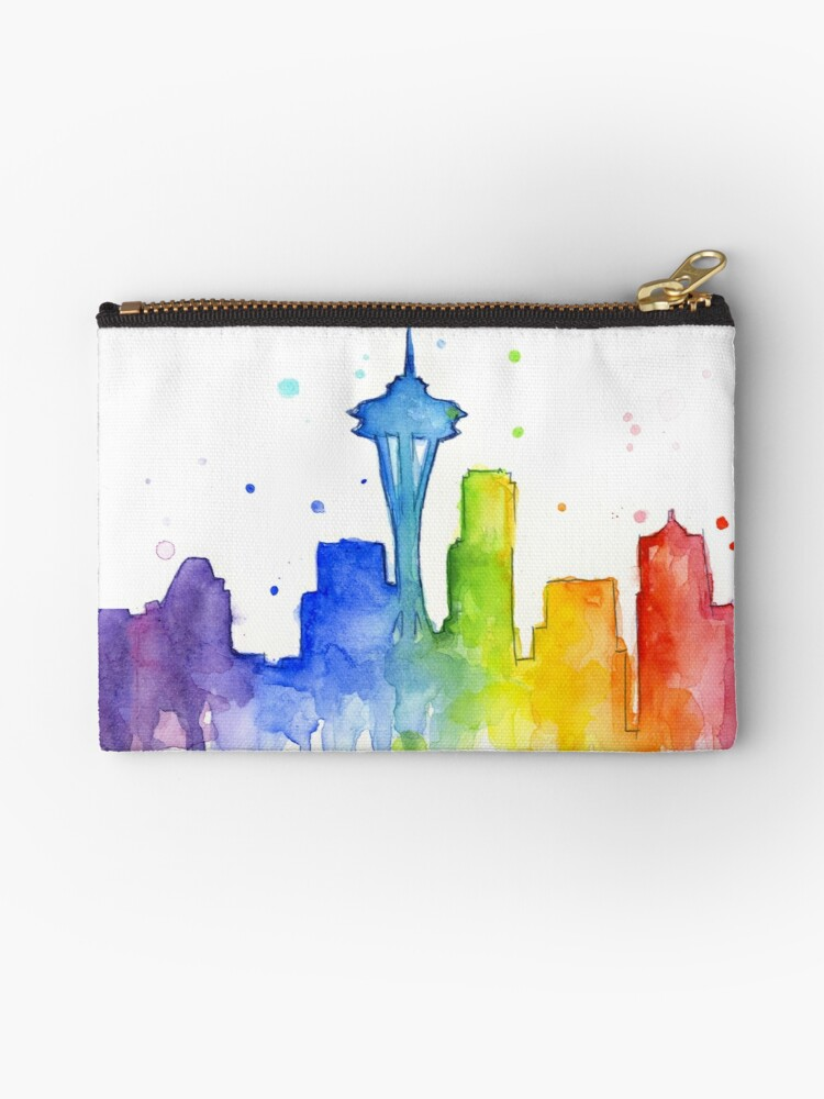 0916cb31bf033 Seattle Rainbow Watercolor Silhouette