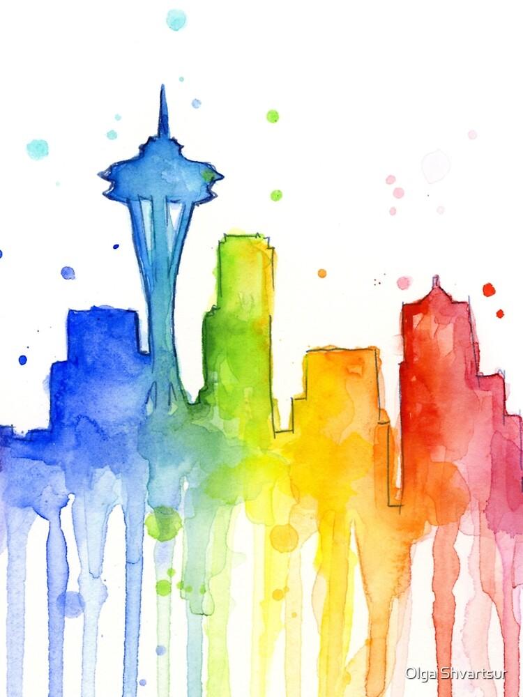 Seattle Rainbow Watercolor Silhouette by olga-shvartsur