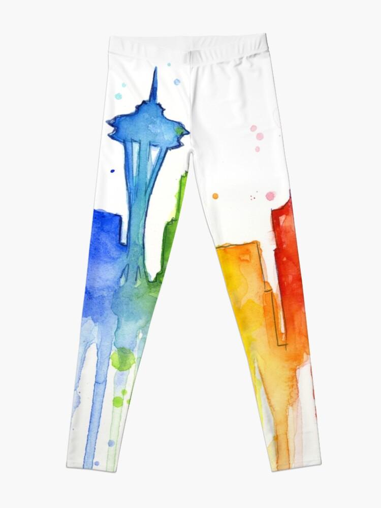 Alternate view of Seattle Rainbow Watercolor Silhouette Leggings