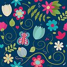 Dark Blue Floral Pattern by Pamela Maxwell