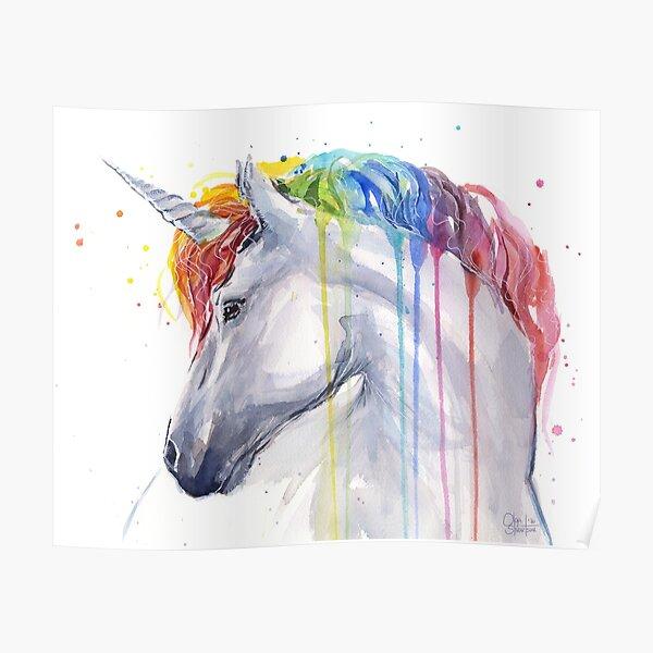 Rainbow Unicorn Watercolor Poster