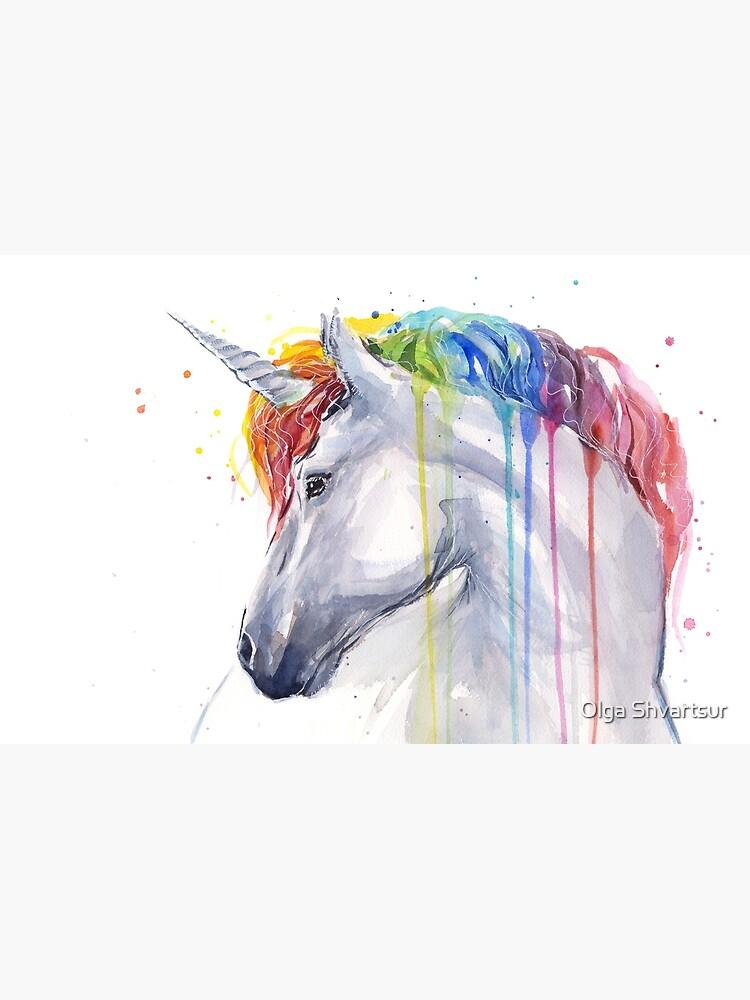 Rainbow Unicorn Watercolor by olga-shvartsur