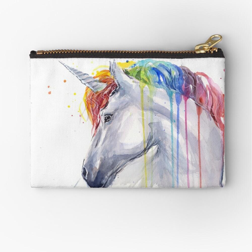 Rainbow Unicorn Watercolor Zipper Pouch