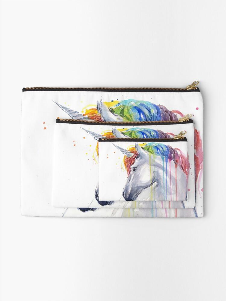Alternate view of Rainbow Unicorn Watercolor Zipper Pouch