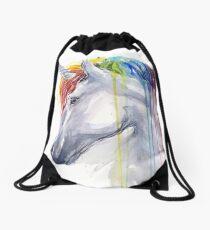 Rainbow Unicorn Watercolor Drawstring Bag