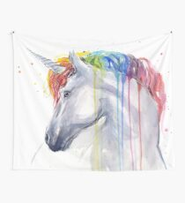 Rainbow Unicorn Watercolor Wall Tapestry