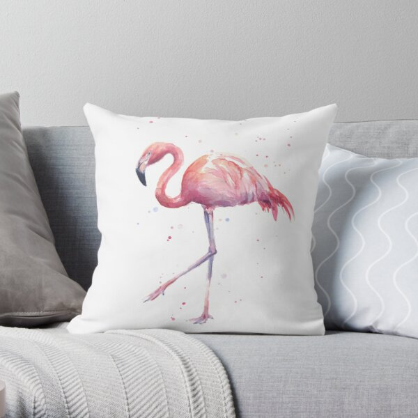 Flamingo Watercolor Painting Throw Pillow