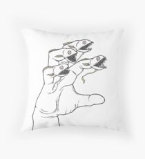 Freaky Fish Fingers Throw Pillow