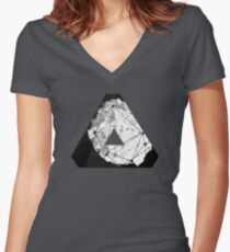 Abstract Geometry: Monochrome Crystal (Black/White/Grey) Women's Fitted V-Neck T-Shirt