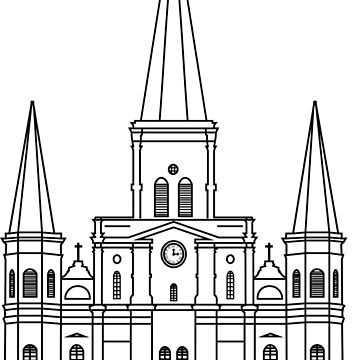 New Orleans St. Louis Cathedral Black  by StudioBlack
