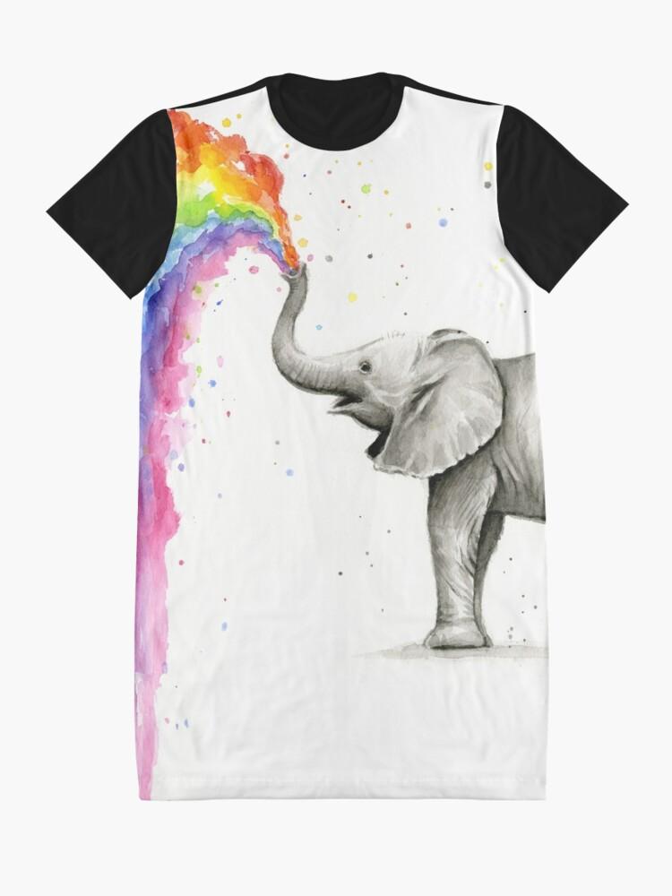 Alternative Ansicht von Baby-Elefant-Sprühregenbogen T-Shirt Kleid